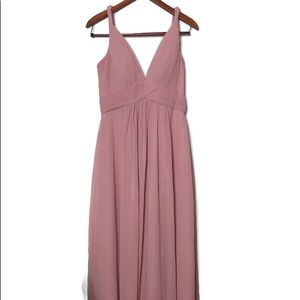 Azazie long pink bridesmaid dress sz 8